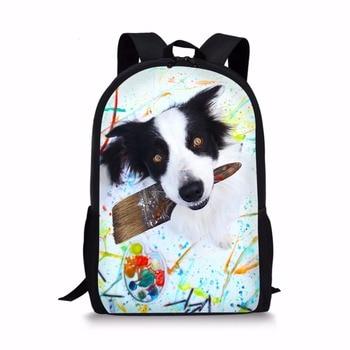 حقائب مدرسية ثلاثية الأبعاد على شكل كلب مطبوع على الظهر للفتيات والأولاد والأطفال حقيبة مدرسية لتقويم العظام 1 درجة حقيبة كتب mochila escolar