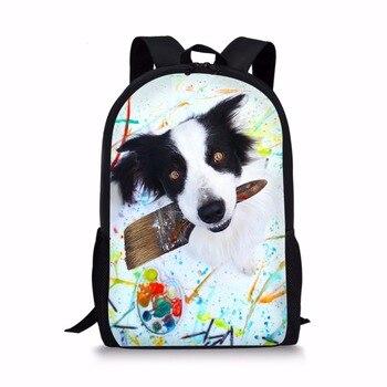 3D Border Collie pies drukuj plecak tornistry dla dziewcząt chłopców ortopedyczne dla dzieci torba szkolna 1 klasy plecak mochila escolar bookBag