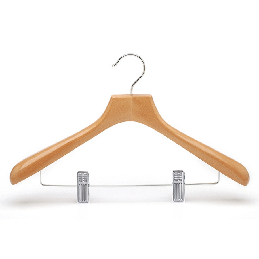 5 pcs in a set wooden hanger with metal clips hangers for pants clothes pants hangers trousers skirt hangers with clips 4 tier metal hangers for heavy duty ultra thin space saving 4 pack
