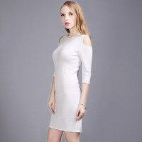Automne Hiver Sexy Encolure Maxi Chandail Robes pour les Femmes Dames Élégantes Moitié Manches Tunique Pull Chandails Plus La Taille SL