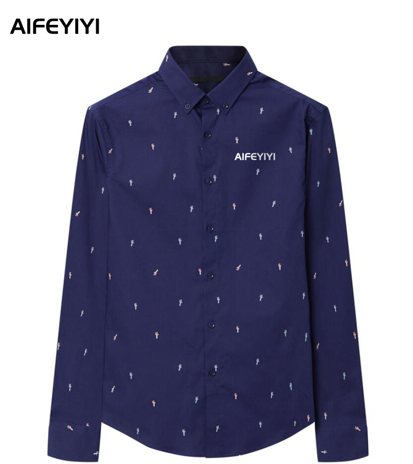 AIFEYIYI Men's Spring / Summer 2018 Fashion Cotton Shirt Navy Blue Long Sleeve Men's Shirt