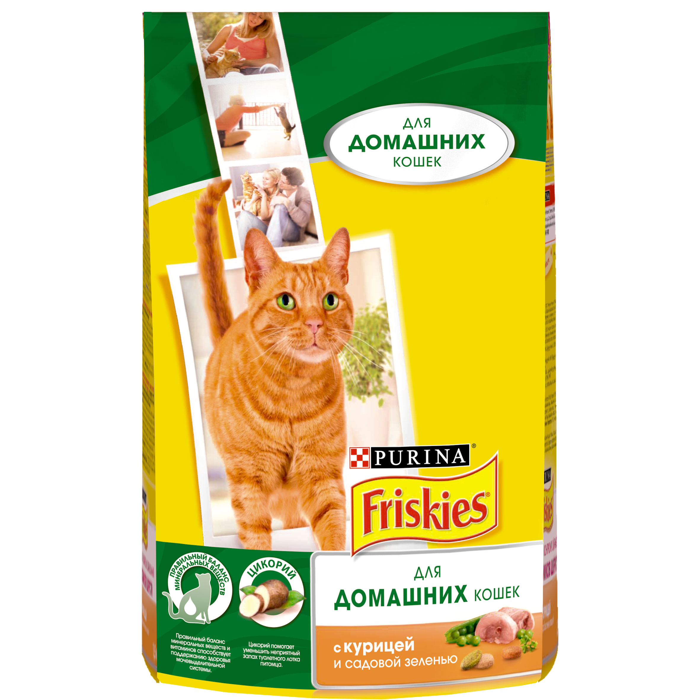 все цены на A set of dry food Friskies for domestic cats with chicken and garden greens, Package, 1.5 kg x 8 pcs. онлайн
