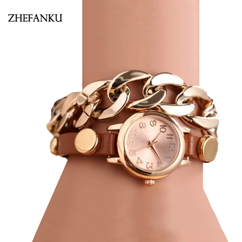 Fashion Quartz Watch Bracelet Watches Top Brand Leather Strap Girl Wrist Watch Clock Women Relogios Femininos Gold Chain Watch