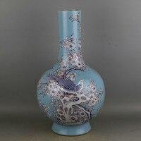 Qing Dynasty Kang Xi Antique Chinese Porcelain Vase Decoration Home Celadon Pastel Collection Handmade Bird Flower Vase