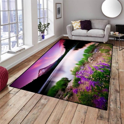 Else Purple Sky Sea Landscape Green Floral View 3d Print Non Slip Microfiber Living Room Decorative Modern Washable Area Rug Mat