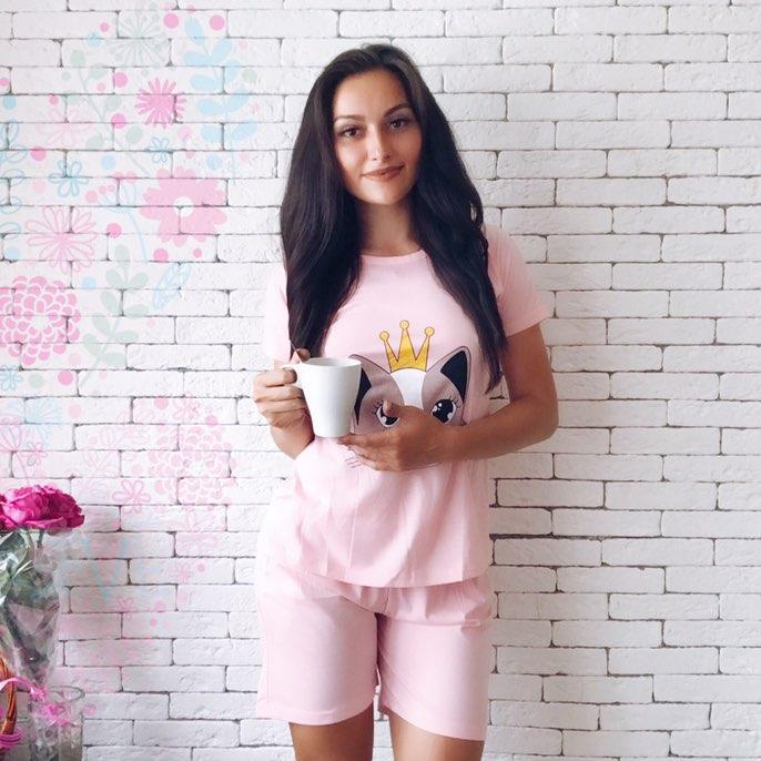 Мимимишная женская розовая пижамка с киской с Алиэкспресс