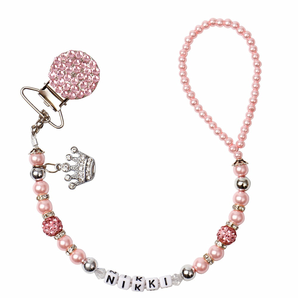 MIYOCAR Personalised -Any Name Princess Bling Pink Pacifier Clips/soother Chain Holder Dummy Clip/Teethers Clip For Baby