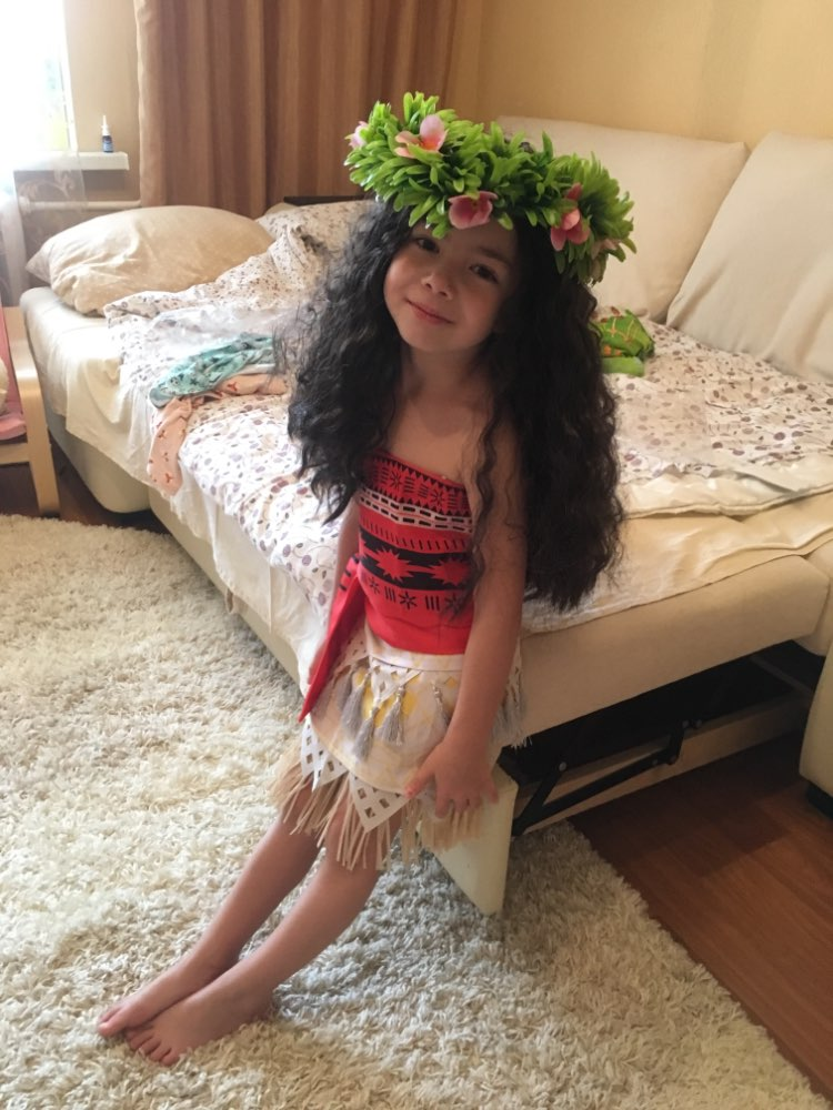 MUABABY Girls Moana Costume Kids Princess Advanture Halloween Cosplay Outfit Children Summer Birthday Party Dress Up Clothing