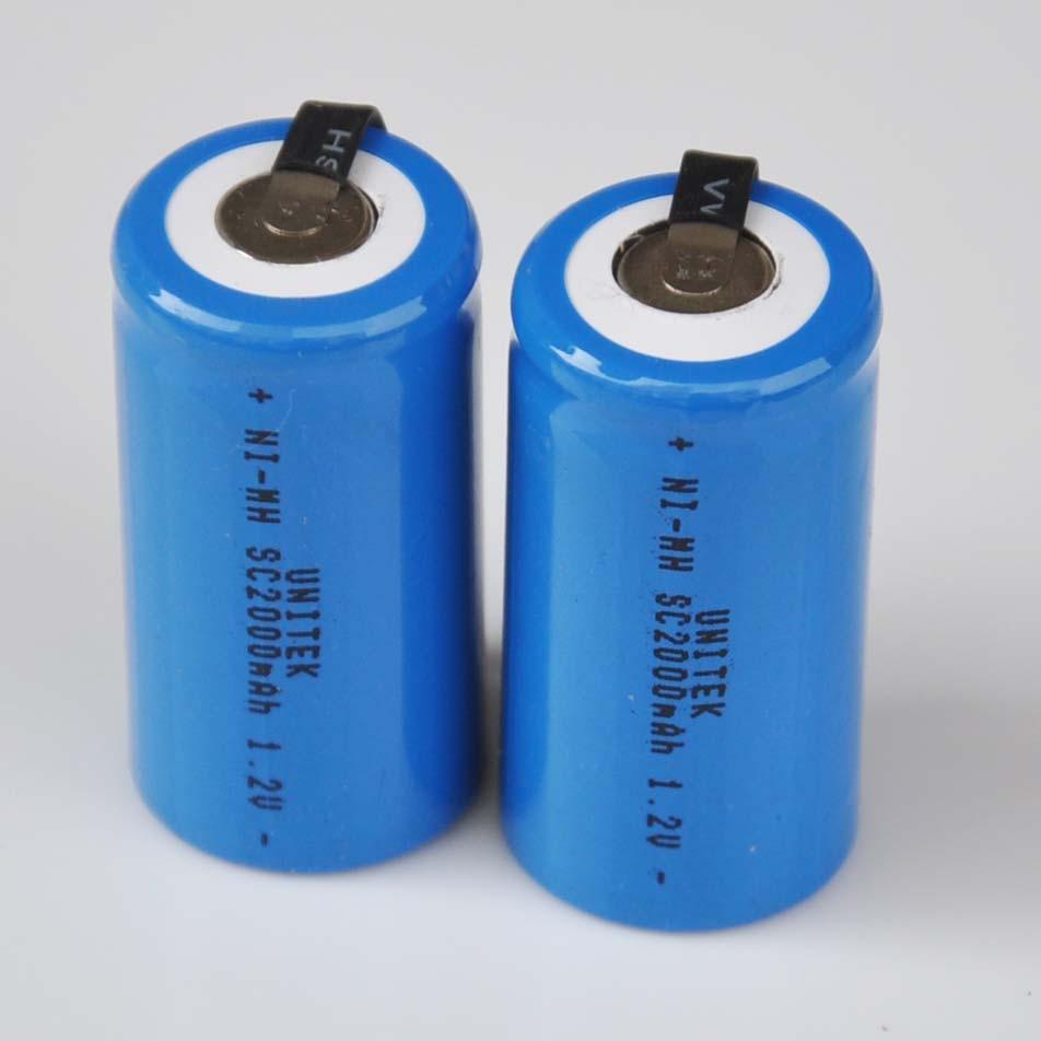 Batería recargable Ni-Mh SC de 1,2 V, 2-5 Uds., 2000mah, celda Sub C ni mh con lengüetas de soldadura para taladro eléctrico, destornillador, herramientas eléctricas