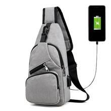Sac à bandoulière en toile avec chargeur USB pour homme, sacoche de poitrine, sac à main de sport, de voyage, collection 2020