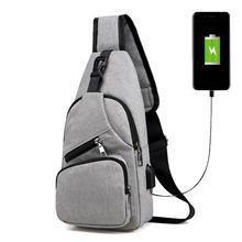 Casual Male Chest Pack Bag Canvas USB Charging Messenger Bags for Men Shoulder Handbag Travel Knapsack Chestbags Mochila