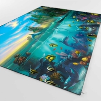 Else Sunset Tropical Fishes Dolphins Under Sea 3d Print Non Slip Microfiber Living Room Decorative Modern Washable Area Rug Mat