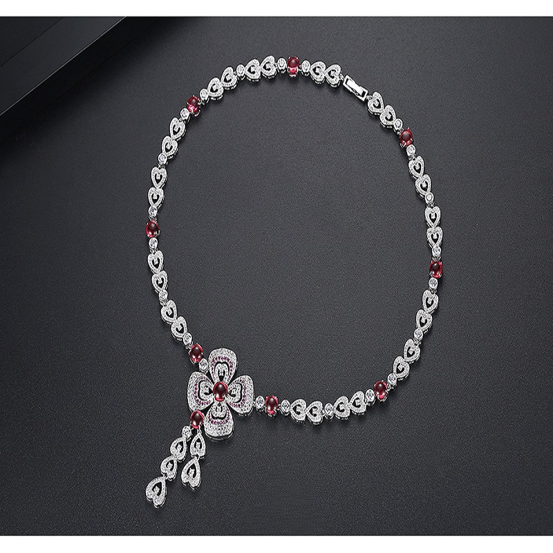 AAA Cubic Zirconia Stone Pave Setting Flower Pendant Pendant Necklace For Women Accessories Saudi Style Dubai