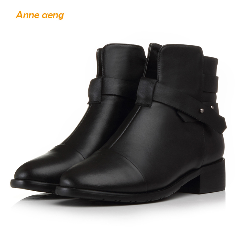 Anne Aeng women's shoes winter boots Ankle Square Heel Classic Free shipping 100%Genuine Leather Zip Full Grain Round Toe Rivet 247 classic leather