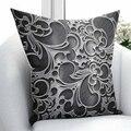 Else черный серый аутентичный османский винтажный цветочный дизайн 3D принт наволочка для подушки квадратная скрытая молния 45х45см