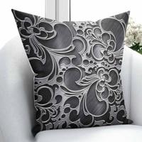 Innego czarny szary autentyczne imperium osmańskiego w stylu Vintage kwiatowy wzór 3D drukuj rzuć poszewka na poduszkę poduszka kwadratowa ukryty zamek błyskawiczny 45x45 cm w Poszewka na poduszkę od Dom i ogród na