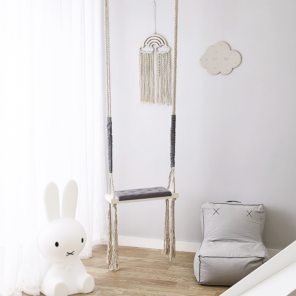 Hot INS Baby Swing Chair With Cushion Seat Children Indoor Solid Wood Toy Swings Boys Princess Girls Kids Room Decor Furniture
