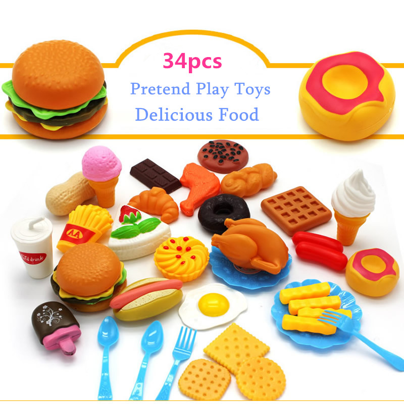 34pcs Funny Kitchen Pretend Play Toy Plastic Cutting Fruit Vegetable Drink Food Children Early Education Toys 12pcs plastic kitchen pretend play toys cutting fruit vegetable food basket children role play educational kitchen toys for kids