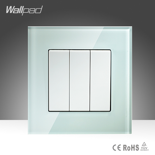 3 Gang 2 Way Push Button Switch Wallpad Smart Home White Glass Double Control Push Button Control Wall Switches Free Shipping hot sales 1 gang 2 way wallpad crystal glass uk eu double control push button light wall switch amazing discount