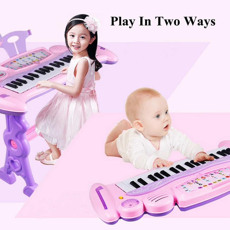 Rose 37 clés enfants clavier électronique Piano orgue jouet/Microphone musique jouer enfants jouet éducatif cadeau pour les enfants - 3