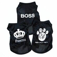 Boss Dog Roupa Nyári Nyári Ruhák Kutya Póló Chihuahua Nyári ruha kis kutyák számára Lélegző Poliészter Cats Vest Apparel E