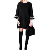Fashion Women Crew Neck Loose Casual Stripe Long Bell Sleeve Short Mini Dress Evening Party Vestido