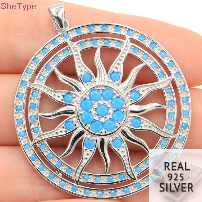 SheType 11 1g Sublime Antique Sun God Blue Turquoise Man Gift 925 Solid Sterling Silver Pendant