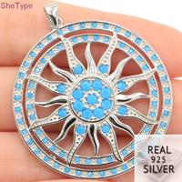 SheType 11.1g Sublime Antique Sun God Blue Turquoise Man Gift 925 Solid Sterling Silver Pendant 44x26mm