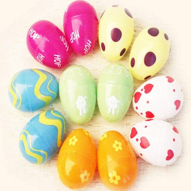 12pcs Mix Color Random Plastic Empty Fillable Easter Eggs Hunt Baby - Color-easter-eggs