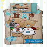 Sonst 4 Stück Braun Holz Süße Blau Nette Baby Junge Bears 3D Druck Baumwolle Satin Baby Bettbezug Bettwäsche Set kissen Fall Bett Blatt