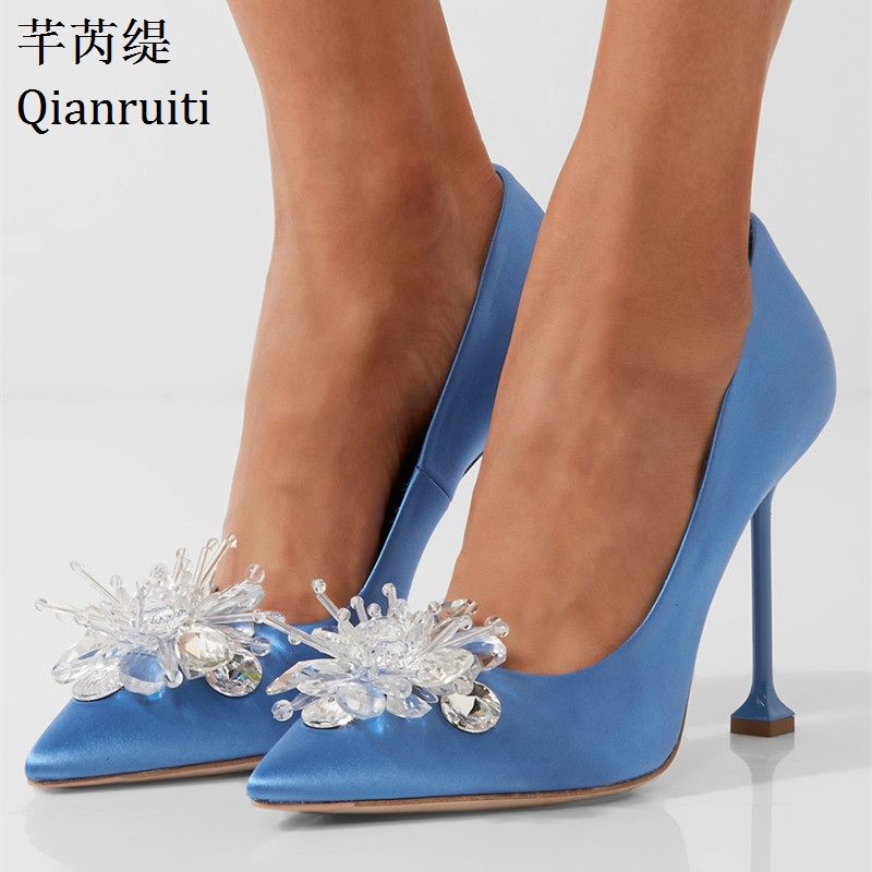 Qianruiti Pink Blue Silk Stiletto Heels Women Shoes Bling Crystal High Heels Bridal Wedding Shoes Sexy Pointed Toe Women Pumps summer bling thin heels pumps pointed toe fashion sexy high heels boots 2016 new big size 41 42 43 pumps 20161217