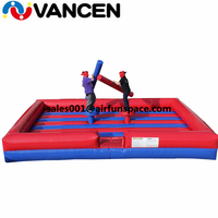 7*5*1m inflatable gladiator joust fing 0.55mm PVC inflatable jousting arena with sticks inflatable flighting game for sale