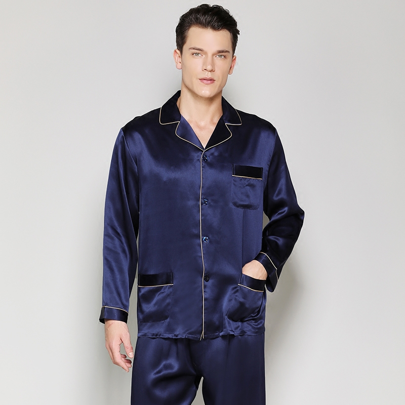 Men's Pajamas Sets100% Silk Stain Solid Summer Spring2019 Man Pure Silk Sleepwear Homewear Two Piece Pyjamas Sets Long Sleeve