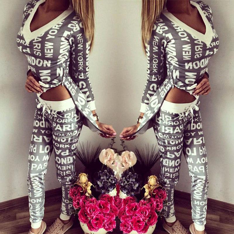 Комплект из 2 предметов костюмы толстовка + брюки для девочек Sudaderas женщина спортивный костюм костюмы толстовки комплект с буквенным Принто