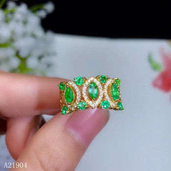 KJJEAXCMY boutique jewelry 925 pure silver inlaid natural emerald ring support detection