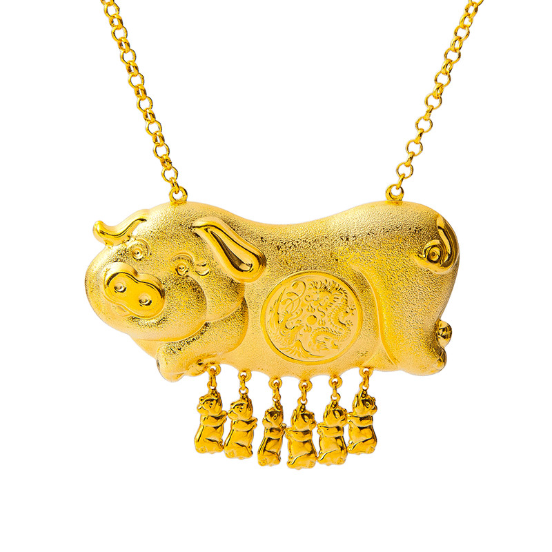 Retro 6pcs Pig Baby And Pig Mother Pendant Necklace Yellow Gold Filled Women Wedding Party Jewelry