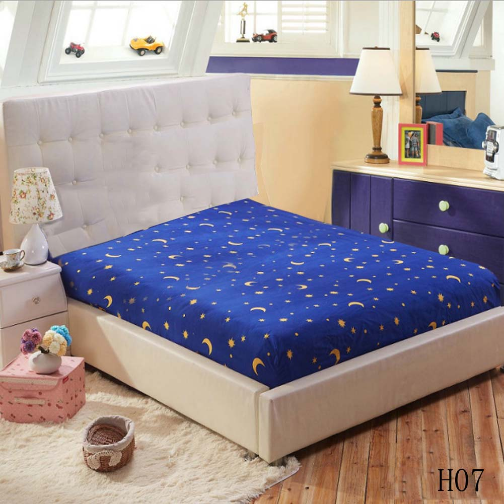 1pc Polyester Sheet Mattress Cover Colorful Bedding Linens Bed Sheets With Elastic Band Bed Protection