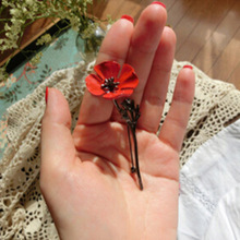 Fashion Vintage Collar Pins Red Poppy Flower Brooch For Men Jewelry Brooches Pins Men Suit Accessories