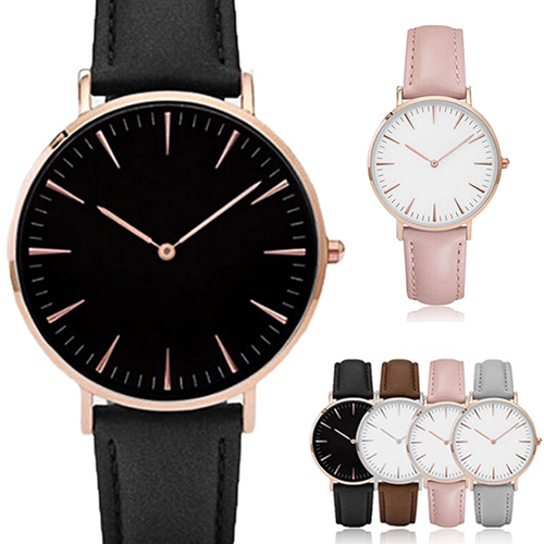 Women Men Casual Luxury Quartz Analog Faux Leather Band Wrist Watch