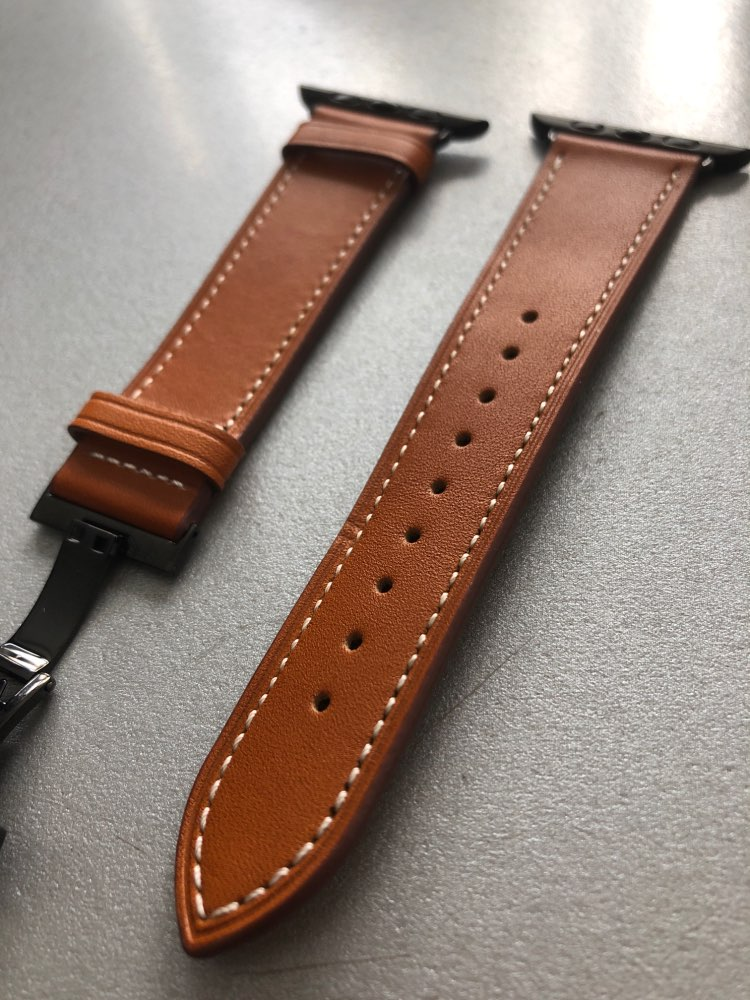 Apple Watch band Genuine Leather 44mm/ 40mm/ 42mm/ 38mm Series 1 2 3 4,  Luxury Rose Gold Butterfly Buckle Bracelet Strap   - USPS US fast shipping