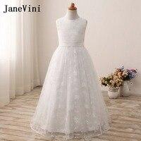 JaneVini 2018 White Flower Girl Dresses Lace Floor Length Little Girls Custom Prom Dress Party Gown Pageant Dresses for Girls