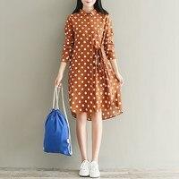ZANZEA Women Polka Dot Buttons Down Casual Loose Long Tops Blusas Vintage Turn Down Shirt Dress