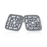 New Collection High Quality Big CZ Paving 925 Sterling Silver Hollow Square Stud Earring