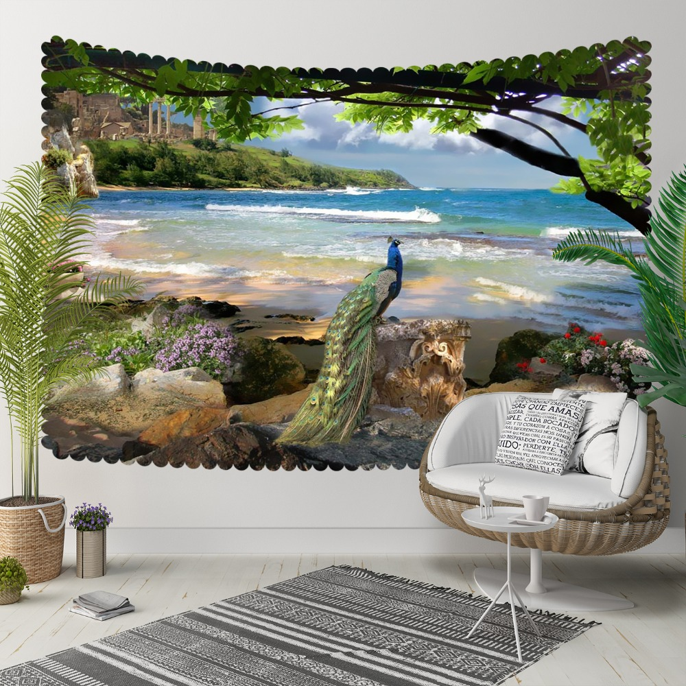 Else Green Trees Blue Sea Side Beach Peacock Bird 3D Print Decorative Hippi Bohemian Wall Hanging Landscape Tapestry Wall Art