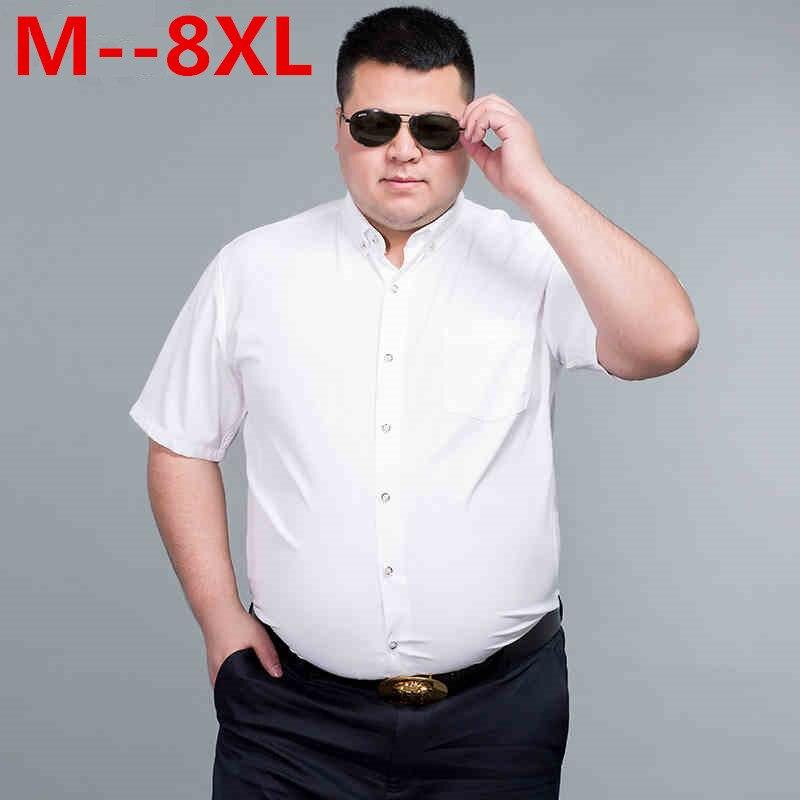 PLUS SIZE 10XL 9XL 8XL 6XL 5XL Brand Mens Summer Business Shirt Short Sleeves Turn-down Collar Tuxedo Shirt Shirt Men Shirts