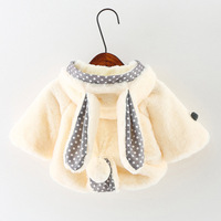 Winter Autumn Kids Plush Thickening Jackets Girls Toddler Robe Fille Cute Warm Rabbit Ears Coats Baby