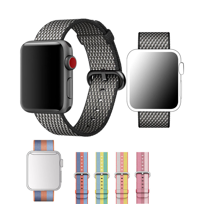 ASHEI New Fine Woven Nylon Band for Apple Watch Series 3 2 1 Belt Sport Replacement Wrist Strap for iWatch 42mm 38mm Watchbands ashei watch replacement band for apple watch series 3 2 1 vintage genuine leather watchbands for iwatch strap sport and edition