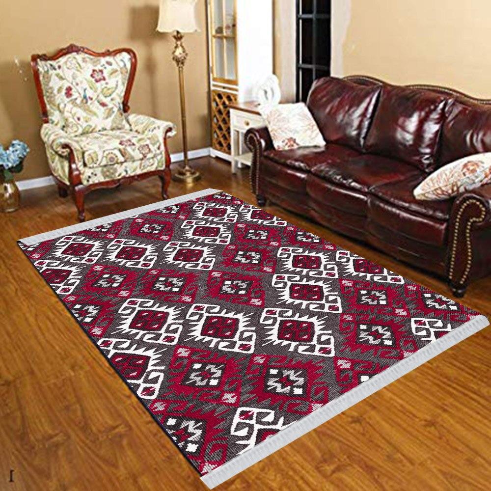 Else Damson White Ottoman Ethnic Retro Geometric 3d Print Anti Slip Kilim Washable Decorative Kilim Tassel Rug Bohemian Carpet