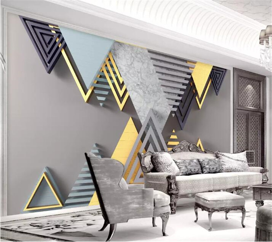 3d three dimensional geometric mosaic TV background wall professional production mural wholesale wallpaper custom photo wall in Fabric Textile Wallcoverings from Home Improvement