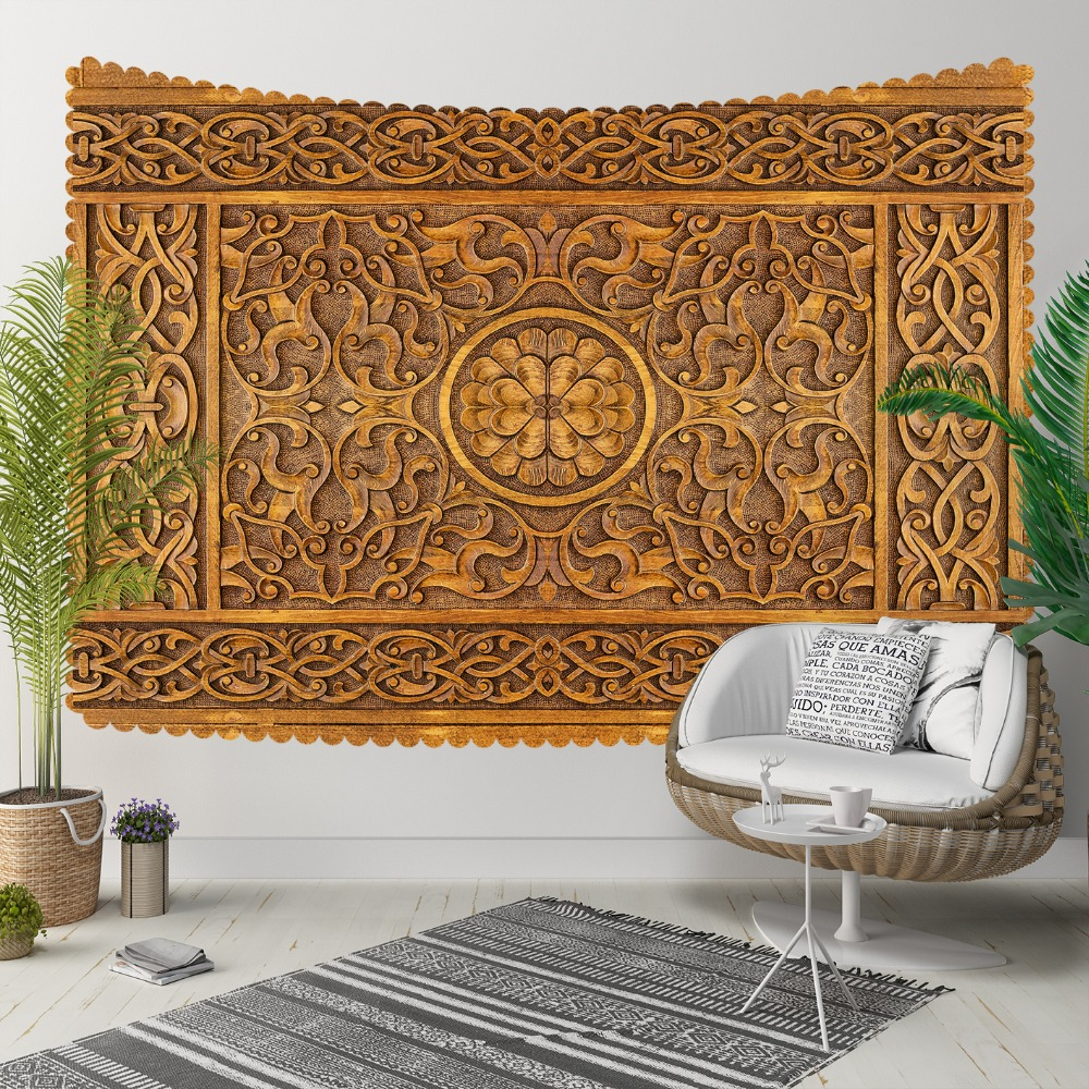 Else Brown Wooden Ottoman Motif Tradional Design 3D Print Decorative Hippi Bohemian Wall Hanging Landscape Tapestry Wall Art